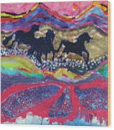 Horses Running Thru A Stream Wood Print