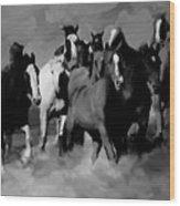 Horses Stampede 01 Wood Print