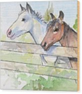Horses Watercolor Sketch Wood Print