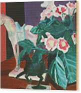 Horses With Floral Wood Print