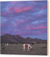 Horses With New Mexico Sunset Wood Print