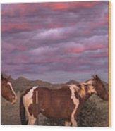 Horses With Southwest Sunset Wood Print