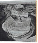 Horseshoe Bend In Black And White Wood Print