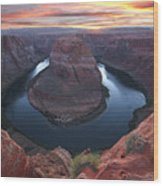 Horseshoe Bend Sunset Wood Print by Loree Johnson