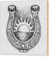 Horseshoe Sun And Sea Tattoo Wood Print