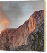 Horsetail Falls Cloudy Sunset Wood Print