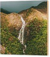 Horsetail Falls In Queenstown Tasmania Wood Print