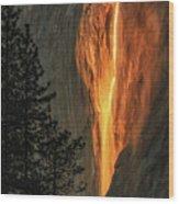 Horsetail Falls In Yosemite National Park Wood Print