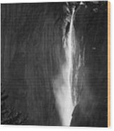 Horsetail Falls Yosemite Black And White Wood Print