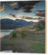Horsetooth Reservior At Sunset Wood Print