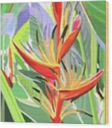 Hort Park Heliconia Wood Print