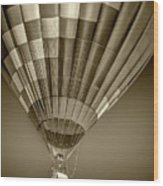 Hot Air Balloon And Bucket In Sepia Tone Wood Print