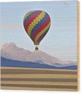Hot Air Balloon And Longs Peak Wood Print