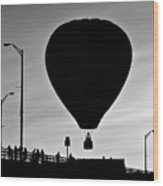 Hot Air Balloon Bridge Crossing Wood Print