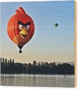 Hot Air Balloon Confronts Stand Up Paddleboarder Wood Print