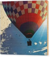 Hot Air Balloon Eclipsing The Sun Wood Print
