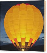 Hot Air Balloon Glow Wood Print