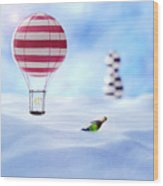 Hot Air Balloon In The Snow Wood Print