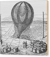 Hot Air Balloon Inflation Wood Print by Granger