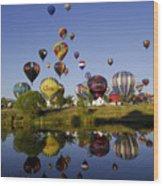Hot Air Balloon Mass Ascension Wood Print
