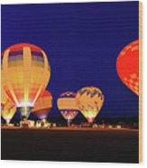 Hot Air Balloon Night Glow Wood Print