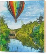 Hot Air Balloon Woodstock Vermont Pencil Wood Print