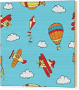Hot Air Balloons And Airplanes Fly In The Sky Wood Print