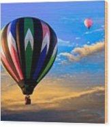 Hot Air Balloons At Sunset Wood Print