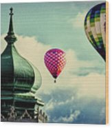 Hot Air Balloons Float Over Lewiston Maine Wood Print