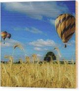 Hot Air Balloons Over A Wheat Field Wood Print