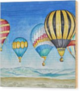 Hot Air Balloons Over Sandia Wood Print