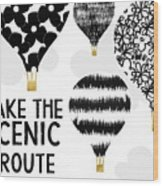 Hot Air Balloons Scenic Route- Art By Linda Woods Wood Print