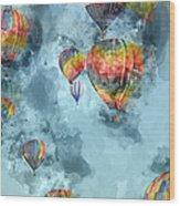 Hot Air Balloons Digital Watercolor On Photograph Wood Print