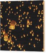 Hot Air Lanterns In Sky Wood Print