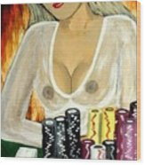 Hot And Sexy Poker Girl Painting Wood Print