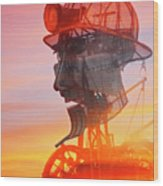 Hot And Steamy Man Engine Wood Print