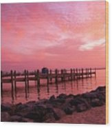 Hot Bay Sunset Wood Print