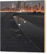Chicago Hot City At Night Wood Print
