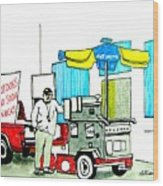 Hot Dog Guy Of Asbury Park Wood Print