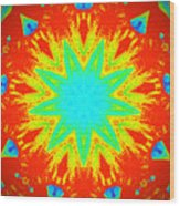 Hot Kaleidoscope Flower Wood Print
