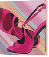 Hot Momma's Hot Pink Pumps Wood Print