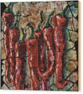 Hot Pepper Fresco Wood Print