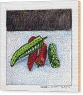 Hot Peppers Take1 Wood Print