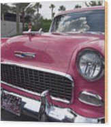 Hot Pink Chevy Wood Print