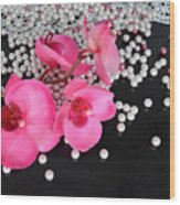 Hot Pink Orchids Wood Print