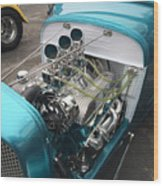 Hot Rod Engine Detail Wood Print
