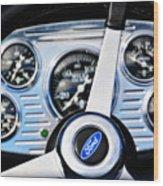 Hot Rod Ford Steering Wheel Wood Print