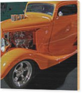Hot Rod Orange Wood Print