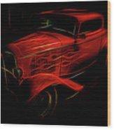 Hot Rod Red Wood Print