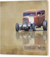 Hot Rod Reflection Wood Print